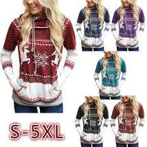 Women Long Sleeve Reindeer Printed Double Hooded Christmas Sweatshirt Casual Pul