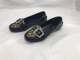 Franco Sarto Sz 6m  Shiloh Black Patent Leopard Loafer Flats - $23.76