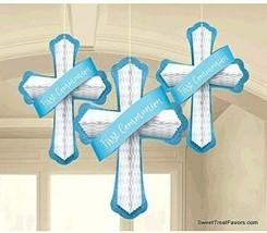 First Communion Cross Party Decoration Blue Honeycomb Religous Decorations 3PCS - $11.83