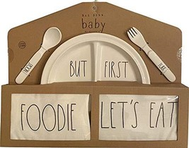 Rae Dunn Baby 5 Piece Gift Set (Melamine Plate, Fork, Spoon, Bandana Bib... - $35.63