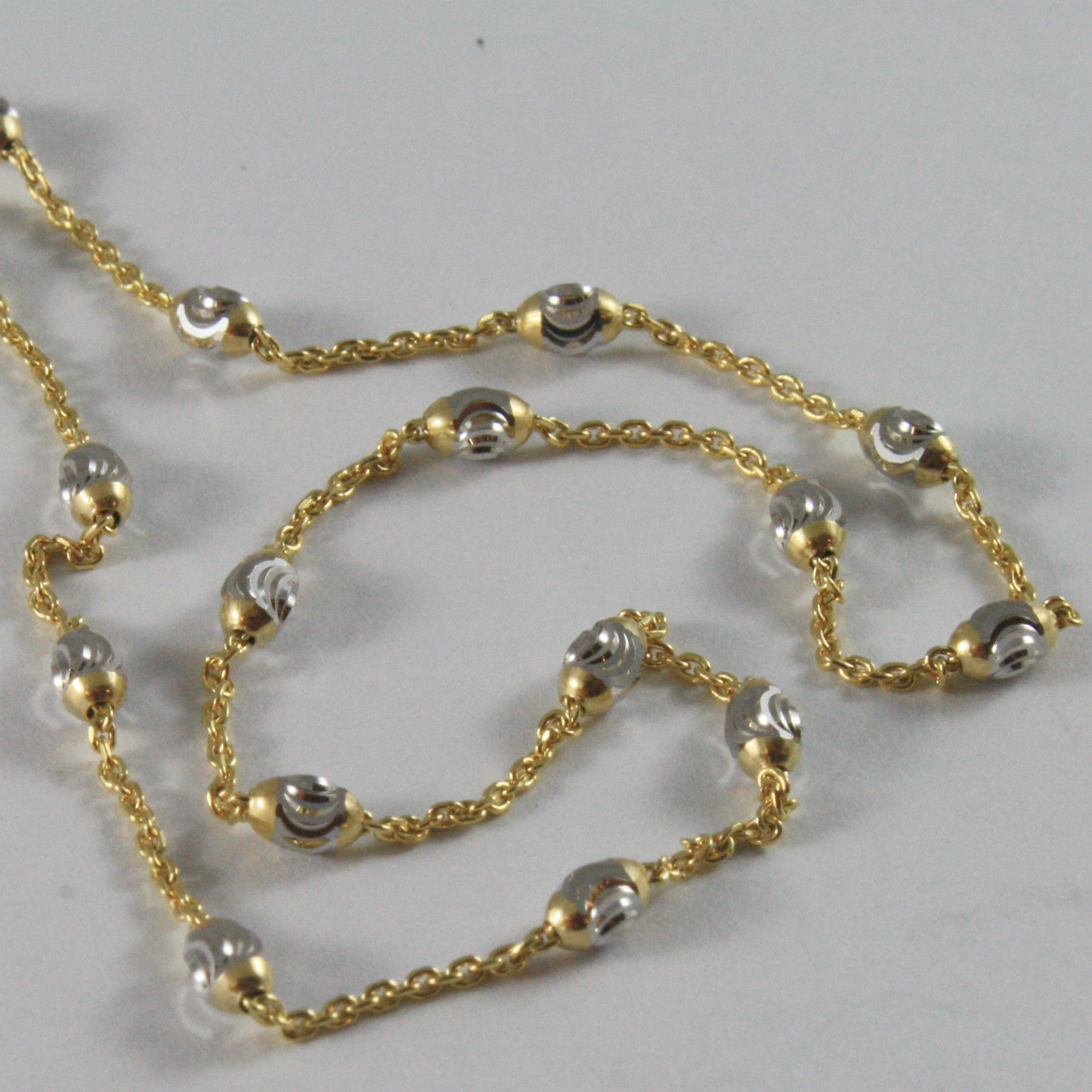 SOLID 18K YELLOW WHITE GOLD CHAIN NECKLACE MINI BALLS LINK 15.75 MADE IN ITALY