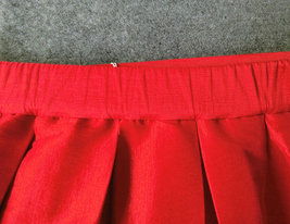 Women Red Black A-line Pleated Taffeta Skirt Ruffle Plus Size Pleated Skirt  image 3