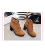 Women Pumps Casual Warm Ankle Boots Waterproof High Heels Snow Martin Shoes - $27.18