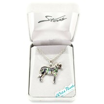 Storrs Wild Pearle Abalone Shell Zebra Horse Pendant w/ Silver Tone Necklace