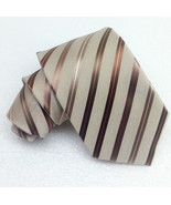 New Striped tie bronze & beige 100% silk Made in Italy MORGANA business ... - $27.93