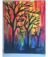 """Sunset Oil Painting of Trees Signed 16 X 20"""", canvas, Full of Color - $19.48"""