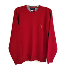 Tommy Hilfiger Mens L Sweater Red Crewneck Cotton Pullover Embroidered C... - $25.00