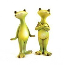 Two Cute Smiling Frogs – Two Happy Frog Sculptures - $21.23
