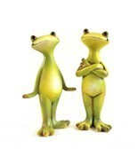 Two Cute Smiling Frogs – Two Happy Frog Sculptures - £16.76 GBP