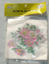 Pink Floral Swan-son Decoupage Napkins - Vintage Paper Craft Supplies - $3.75