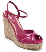 GUCCI Wedge Sandal Platform Patent Leather MICROGUCCISSIMA Fuchsia 36.5 NEW - $524.88