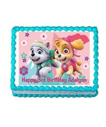 PAW PATROL Skye and Everest edible party cake topper frosting sheet image - $7.80