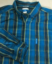 Men's Long Sleeve Casual Dress Shirt Size L Blue Yellow Columbia Large - $11.87