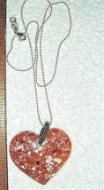STERLING SILVER EMBEDDED SHELL PINK LUCITE HEART DAISY NECKLACE DROP EAR... - $297.99