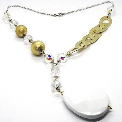 Silver 925 Necklace, Yellow, Drop White Agate, Large Oval Satin