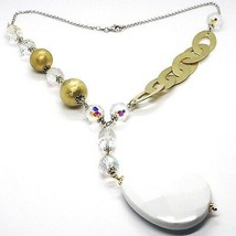 Silver 925 Necklace, Yellow, Drop White Agate, Large Oval Satin image 1