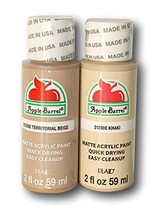 Apple Barrel Acrylic Paint Dark Flesh Tones Set - Khaki & Territorial Be... - $8.83