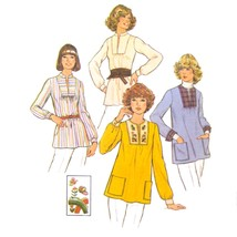 Vtg 70s Simplicity 7627 Misses Long Sleeve Top Tunic Pullover Embroidery... - $7.95