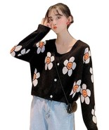 Women's Korean Style Floral Printing V-neck Knitted Cardigan Female Casual - $29.99
