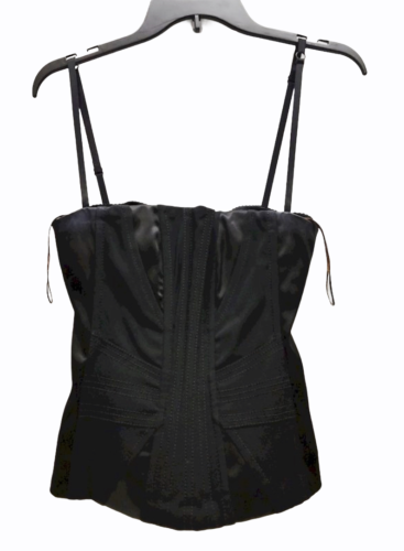 Dolce & Gabbana Women Black Satin Bustier Top Size 42 Made in Italy