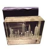 3D Laser Etched New York City with American Flag Glass Crystal Paperweig... - $14.99