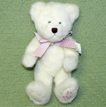 "Boyds Bears Stuffed Teddy 10"" White Be Mine Animal Plush Pastel Ribbon Bow 2001 - $14.85"
