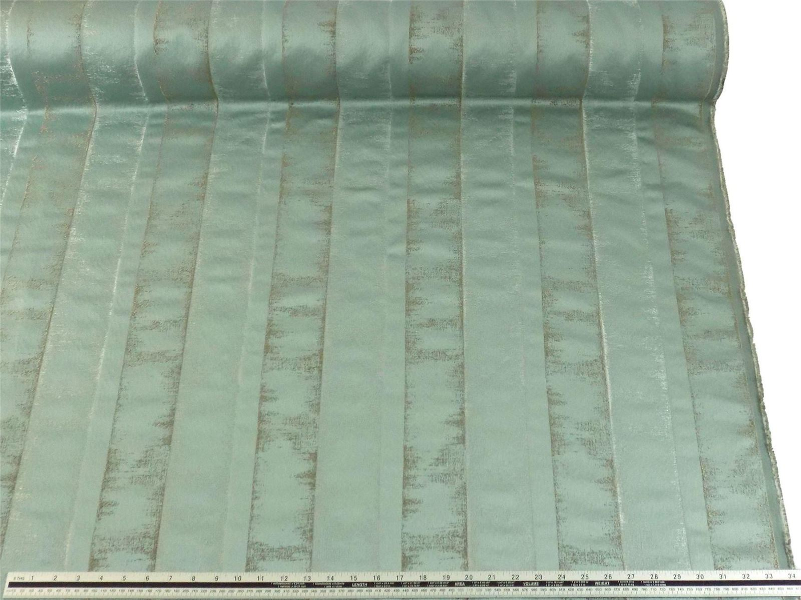 Slub Effect Duck Egg Blue Silver Embroidered Striped Fabric Material *2 Sizes*