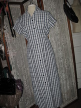 Womens S KAREN SCOTT Blue plaid SHIRT Dress BARELY WORN! COOL & COMFY! - $13.03