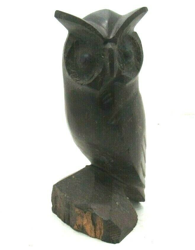 Owl Hand Carved Ironwood Wood Carving  Dark Wooden Animal Sculpture