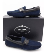 NIB Prada Navy Blue Suede Black Saffiano Leather Trimmed Penny Driver Lo... - $375.00