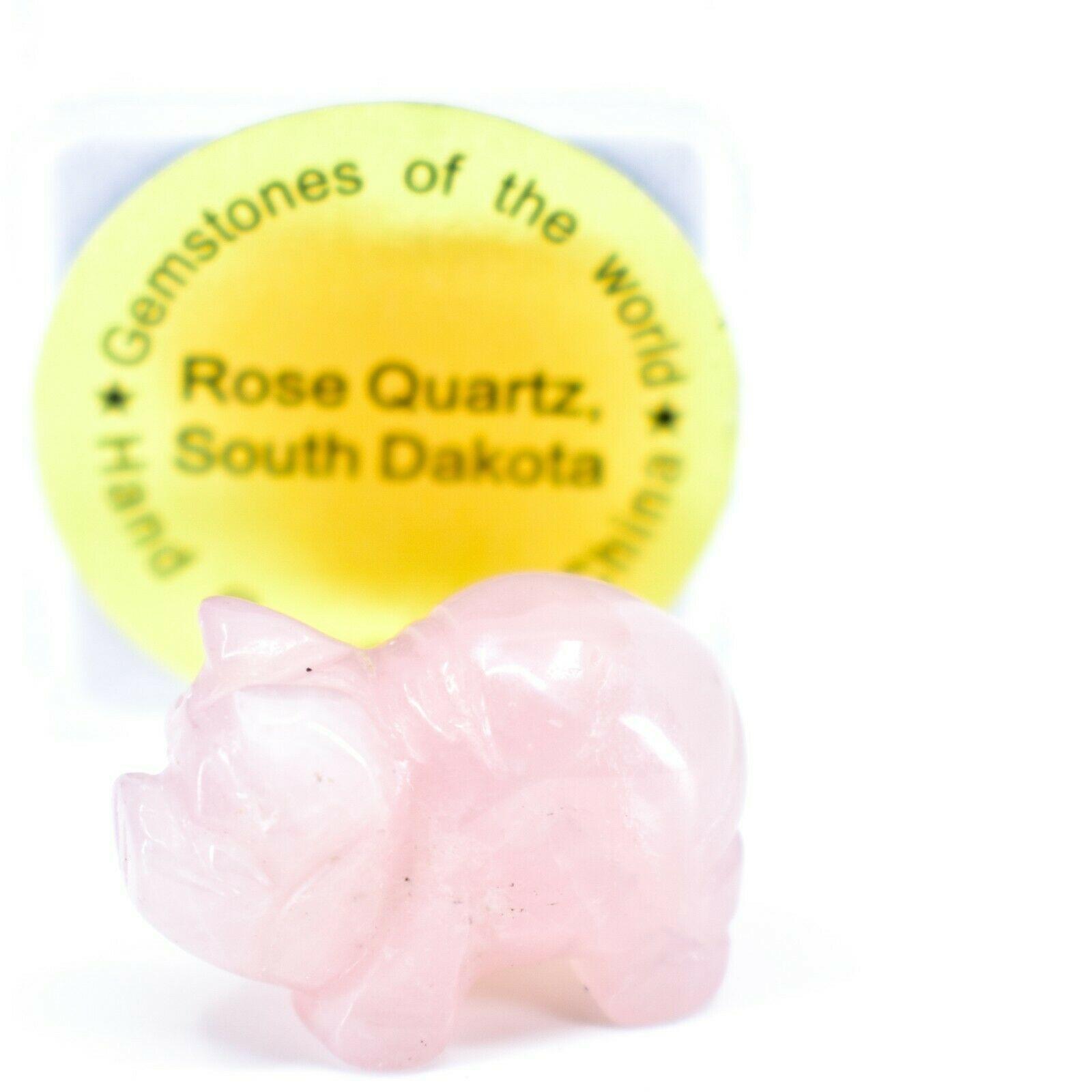 Rose Quartz Gemstone Tiny Miniature Pig Figurine Hand Carved in China