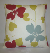 """16"""" Red Scandi Cushion Cover Funky Retro Floral 100% Contemporary Cotton  - $12.62"""