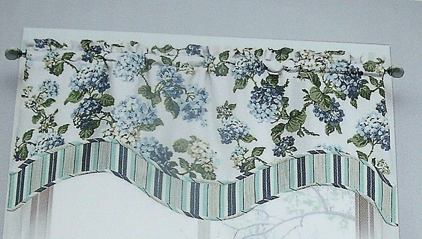 Primary image for NEW WAVERLY BLUE HYDRANGEA VALANCE Curtain Floral Layer Arlington Height COTTAGE