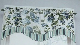 NEW WAVERLY BLUE HYDRANGEA VALANCE Curtain Floral Layer Arlington Height... - $34.60