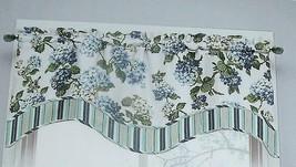 New Waverly Blue Hydrangea Valance Curtain Floral Layer Arlington Height Cottage - $34.60