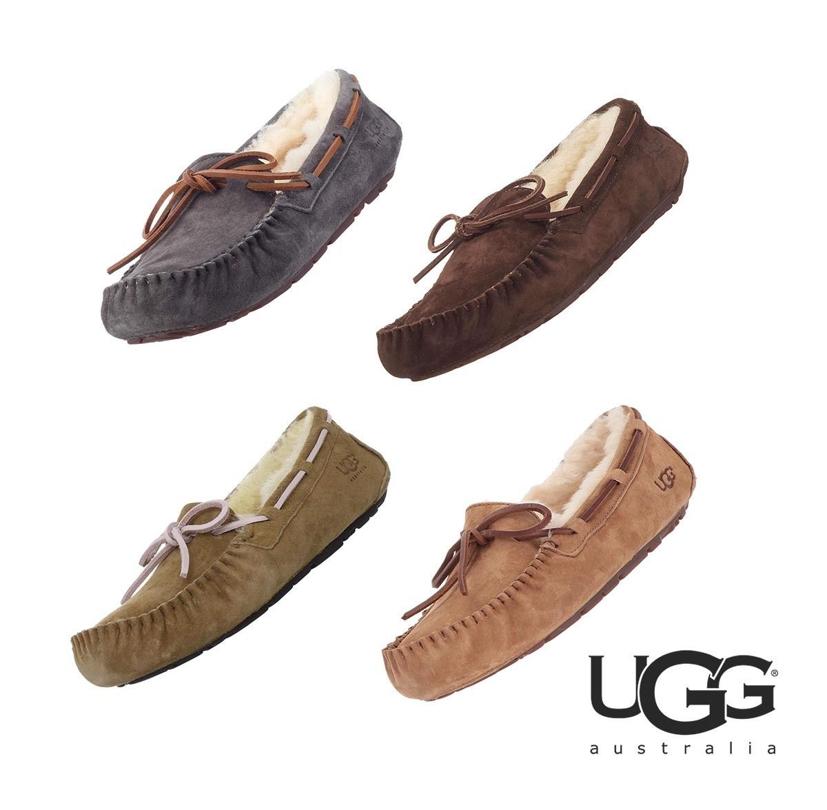 Primary image for NWT UGG Womens Australia Dakota Moccasin Slippers Sandal Fur Brown Grey 5612