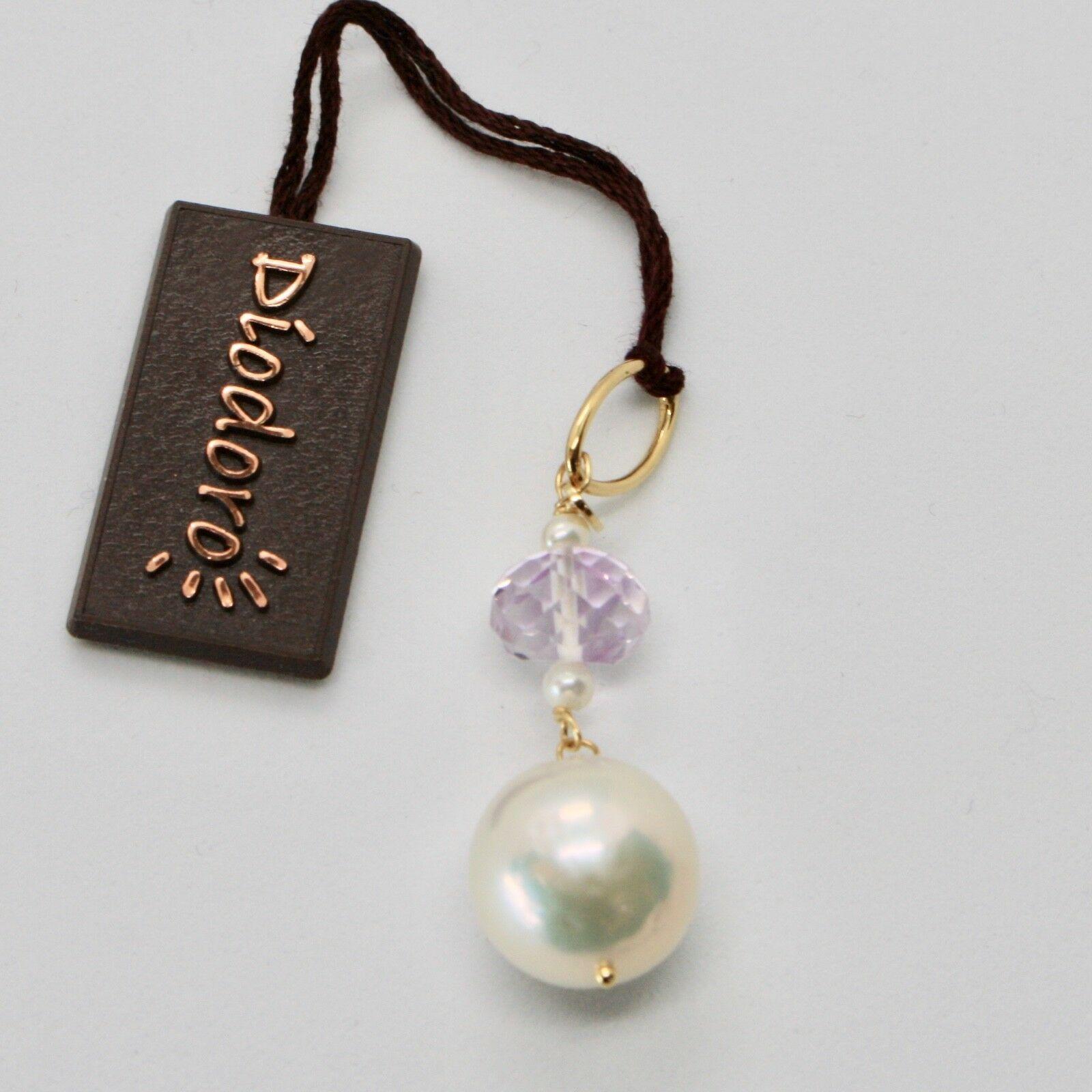 Pendentif en or Jaune 18 Kt avec Perle Blanc de Eau Douce et Améthyste Rose
