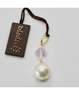 Pendentif en or Jaune 18 Kt avec Perle Blanc de Eau Douce et Améthyste Rose - $133.83