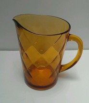 Vintage Hazel-Atlas Amber Gold Optic Diamond 64 Oz (2 Qt) Pitcher Patter... - £5.54 GBP