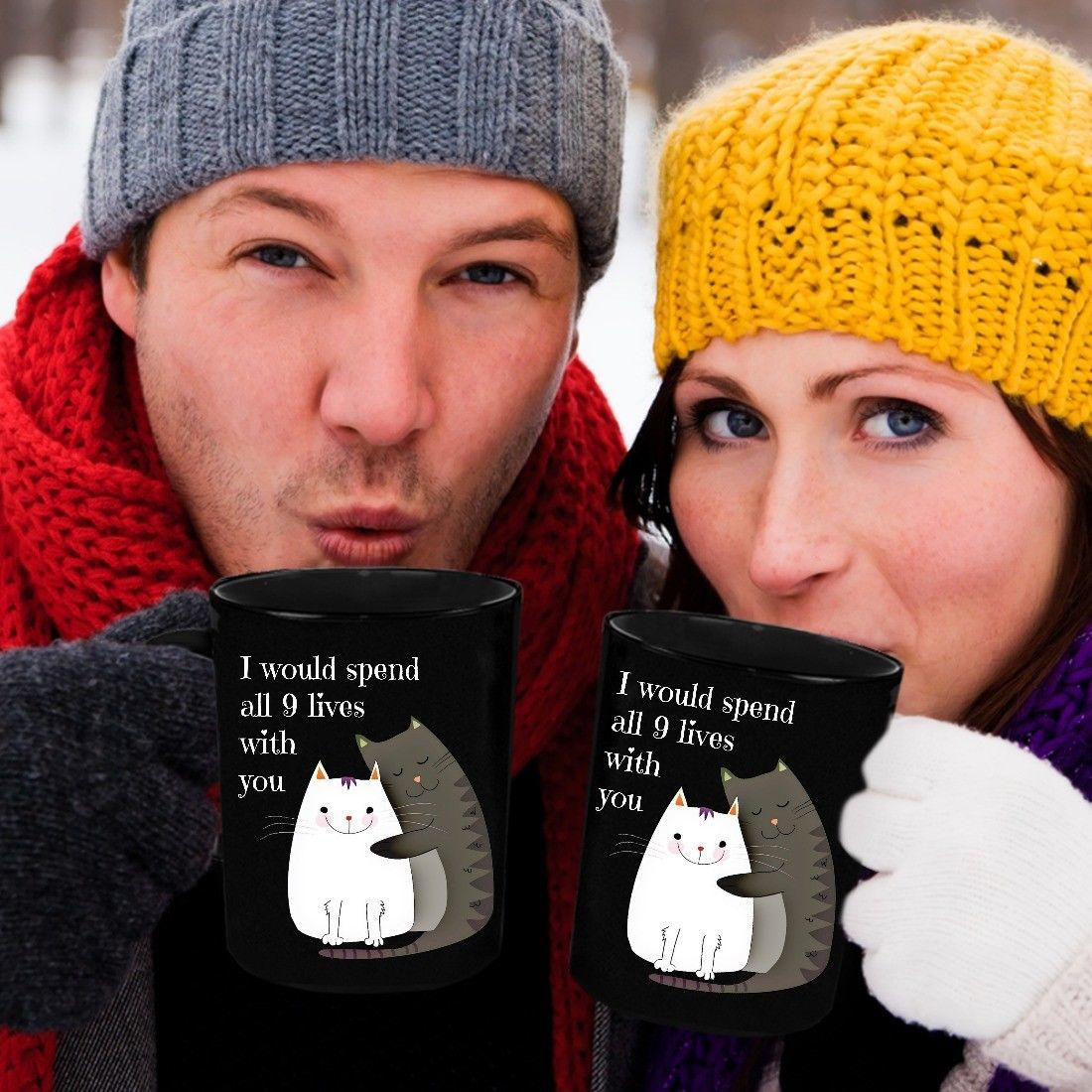 Valentines Day Cat Mug Gift Wife Fiance I Would Spend All 9 Lives With You Black