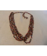 """Vintage 6 Strand  Multicolored Cloth Necklace 30"""" Long Overall - $18.56"""