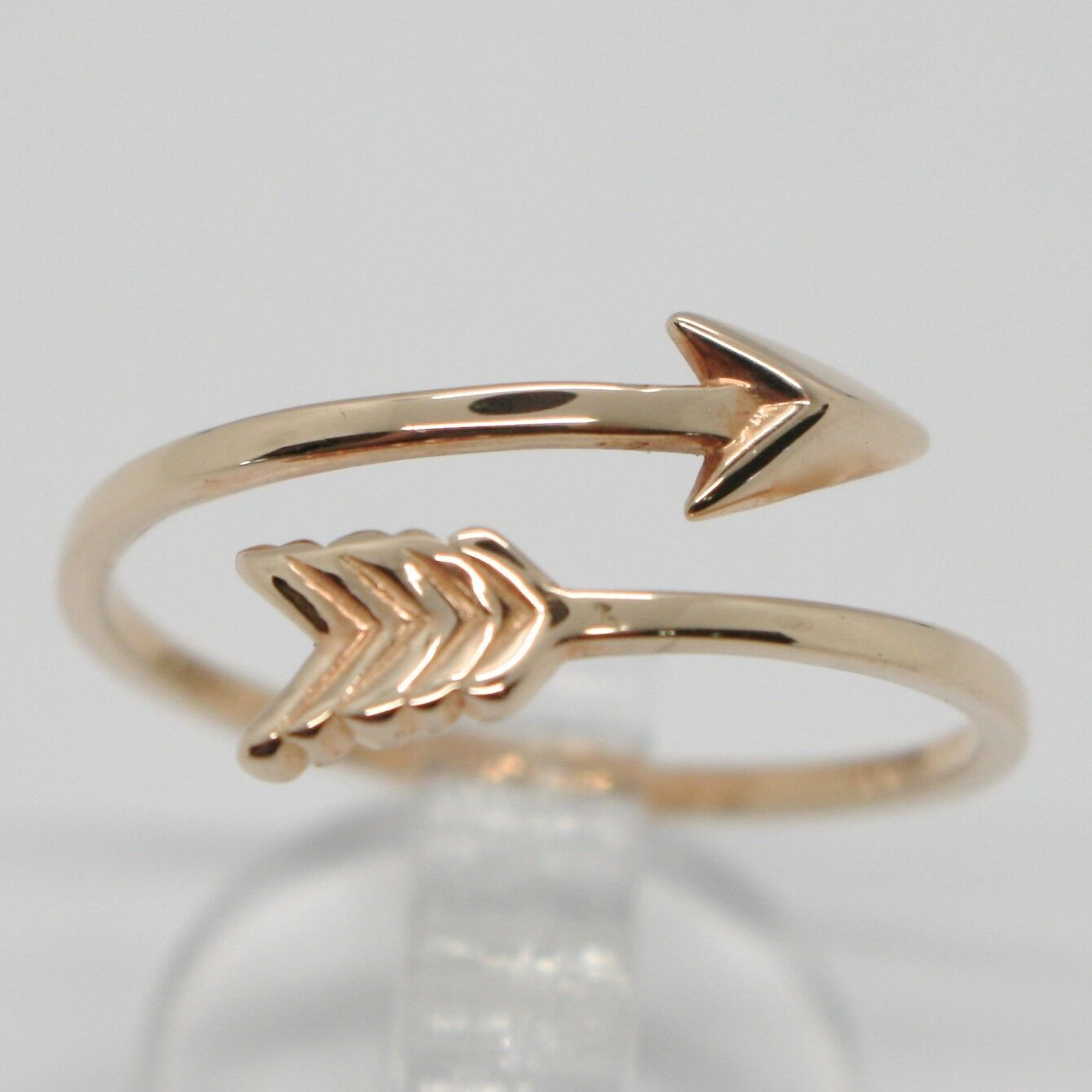 18K ROSE GOLD ARROW RING SMOOTH BRIGHT LUMINOUS DOUBLE WIRE MADE IN ITALY