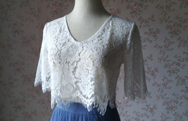 White Lace Crop Top Bridesmaid Separates Lace Top Crop Sleeve Custom Plus Size image 3