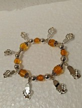 Vintage Flip Flop Bracelet with 8 Charms Topaz and Silver Plated Beads - $8.90