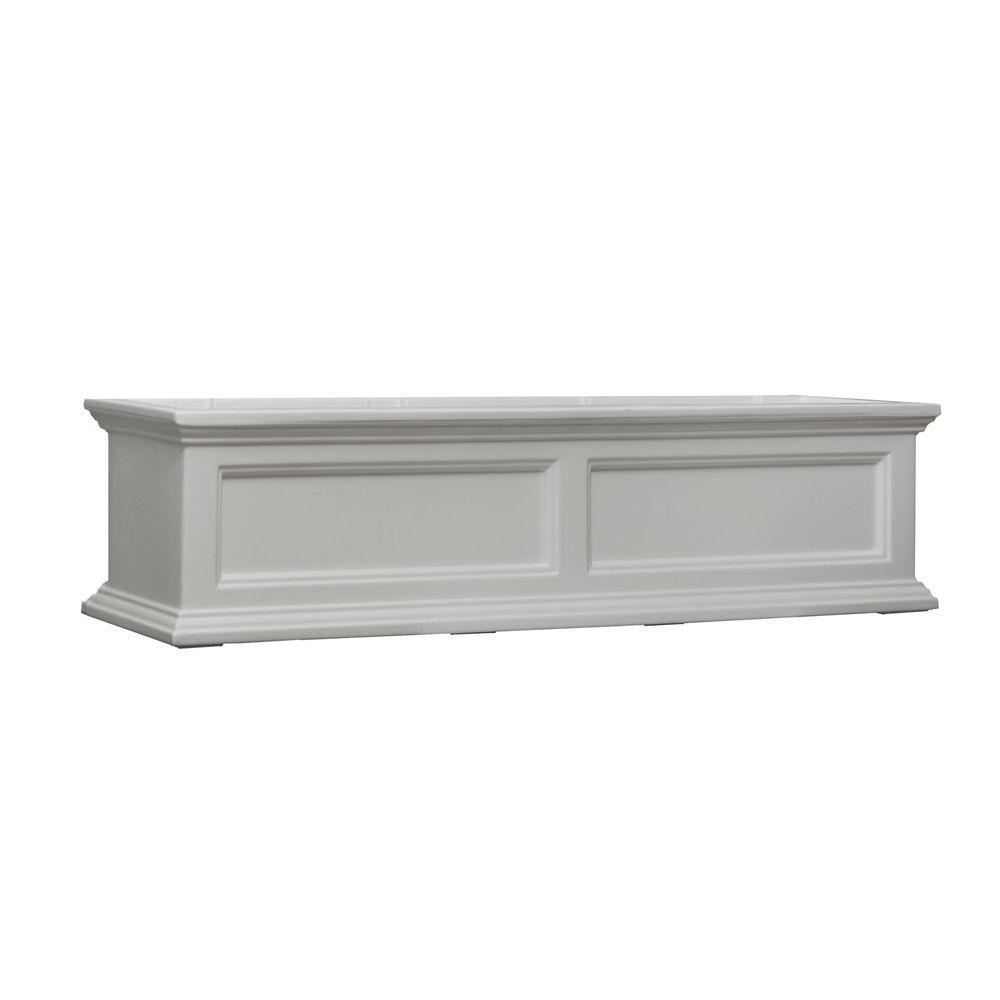 Mayne Fairfield Plastic Window Box 11 x 48 in. Built-In Water Reservoir White