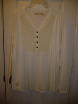 Faded Glory Women's Long Sleeve Henley Top W Velvet Tusk Color X-Large 1... - $13.85