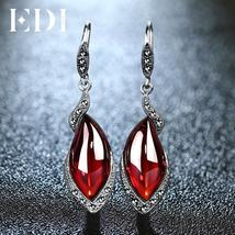 Vintage Garnet Wedding Drop Earrings 925 Sterling Silver Statement Earrings - $40.95