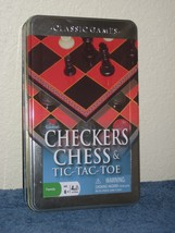Cardinal Classic Games Checkers Chess & Tic-Tac-Toe Combo Game Set in Tin Box - $9.46