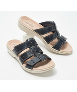 Clarks Collection Ivory Sole Slide Sandals - Leisa Spring Navy 8 M - £37.79 GBP
