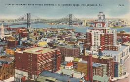 Philadelphia Pennsylvania PA Aerial View Delaware Bridge Postcard Colourpicture - $3.53